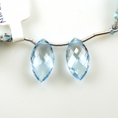 Sky Blue Topaz Drops Marquise Shape 19x10mm Drilled Beads Matching Pair
