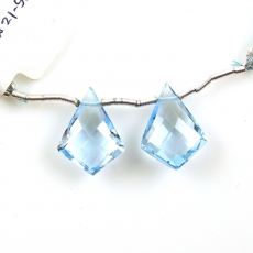 Sky Blue Topaz Drops Shield Shape 29x14mm Drilled Beads Matching Pair
