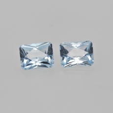 Sky Blue Topaz Emerald Cushion Shape 9X7mm Matching Pair Approximately 5.35 Carat