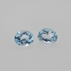 Sky Blue Topaz Oval 10x8mm Matching Pair Approximately 6.59 Carat