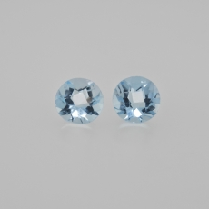 Sky Blue Topaz Round 8mm Matching Pair Approximately 4.26 Carat