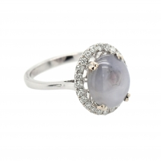 Star Sapphire Cab Oval 5.48 Carat Ring With Diamond Accent in 14K White Gold