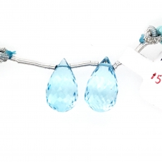 Swiss Blue Topaz Drops Briolette Shape 15x10mm Drilled Beads Matching Pair