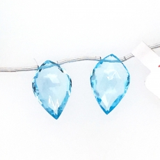 Swiss Blue Topaz Drops Leaf Shape 18x17mm Drilled Beads Matching Pair