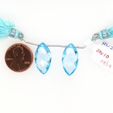 Swiss Blue Topaz Drops Marquise Shape 20x10mm Drilled Beads Matching Pair