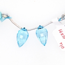 Swiss Blue Topaz Drops Okra Shape 16x10mm Drilled Beads Matching Pair