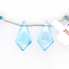 Swiss Blue Topaz Drops Shield Shape 20x11mm Drilled Beads Matching Pair