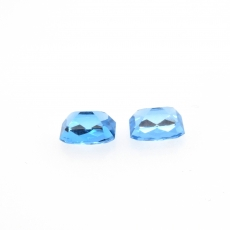 Swiss Blue Topaz Emerald Cushion Cut 10x8mm Matching Pair Approximately 7.63 Carat
