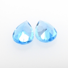 Swiss Blue Topaz Pear Shape 9x7 Mm 4.14 Carat Matching Pair