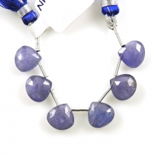 Tanzanite Drops Heart Shape 10mm Drilled Beads 6 Pieces Line