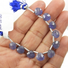 Tanzanite Drops Heart Shape 8mm Drilled Beads 10 Pieces Line