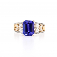 Tanzanite Emerald Cut 2.37 Carat  With White Diamond Ring in 14K Dual Tone ( White / Yellow) Gold