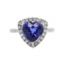 Tanzanite Heart Shape 4.65 Carat Ring With Diamond Accent in 14K White Gold