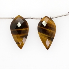 Tiger Eye Drops Almond Shape 25x13 Drilled Beads Matching Pair