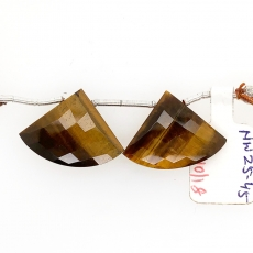 Tiger Eye Drops Fan Shape 18x23 Drilled Beads Matching Pair