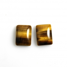 Tiger's Eye Cabs Emerald Cut 16x12mm Matching Pair Approximately 19 Carat