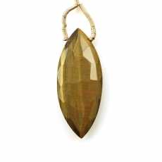 Tiger's Eye Drop Marquise Shape 38x15mm Drilled Bead Single Pendant Piece