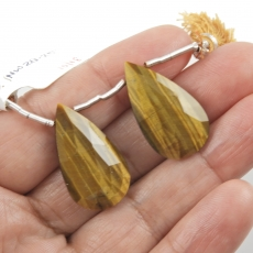 Tiger's Eye Drops Almond Shape 26x15mm Drilled Beads Matching Pair