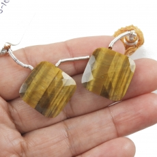 Tiger's Eye Drops Cushion Shape 19x19mm Drilled Beads Matching Pair