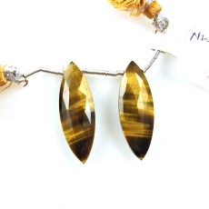 Tiger's Eye Drops Marquise Shape 29x10mm Drilled Beads Matching Pair