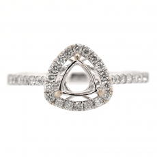 Trillion 4.5mm Ring Semi Mount In 14K White Gold With White Diamonds