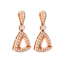 Trillion 6.5mm Earring Semi Mount in 14K Rose Gold with White Diamonds