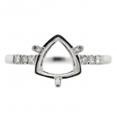 Trillion 7.5mm Ring Semi Mount in 14K White Gold with White Diamonds