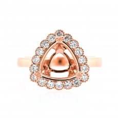 Trillion 9mm Ring Semi Mount in 14K Rose Gold with White Diamonds
