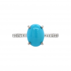 Turquoise Cab Oval 2.02 Carat Ring With Diamond Accent in 14K White Gold