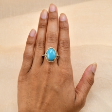 Turquoise Cab Oval 7.46 Carat Ring With Diamond Accent in 14K Yellow Gold