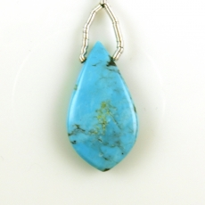 Turquoise Drop Leaf Shape 29x16mm Drilled Bead Single Pendant Piece