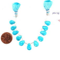 Turquoise Drops Almond Shape 10x7mm Drilled Beads 11 Pieces