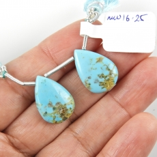 Turquoise Drops Almond Shape 19x12mm Drilled Beads Matching Pair