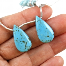 Turquoise Drops Almond Shape 23x12mm Drilled Beads Matching Pair