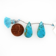 Turquoise Drops Almond Shape 24x12mm Drilled Bead Matching Pair