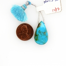 Turquoise Drops Almond Shape 25x15mm Drilled Bead Single Piece