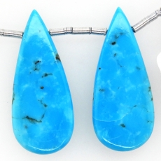 Turquoise Drops Almond Shape 30x10mm Drilled Bead Matching Pair