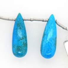 Turquoise Drops Briolette Shape 23x8mm Drilled Bead Matching Pair