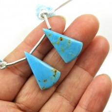 Turquoise Drops Conical Shape 24x14mm Drilled Beads Matching Pair