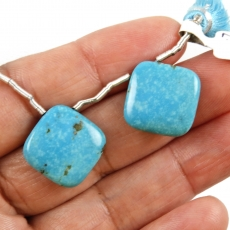 Turquoise Drops Cushion Shape 15x15mm Drilled Beads Matching Pair