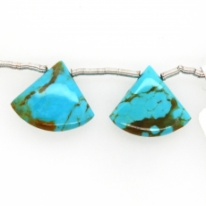 Turquoise Drops Fan Shape 15x18mm Drilled Bead Matching Pair
