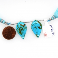 Turquoise Drops Leaf Shape 25x15mm Drilled Bead Matching Pair