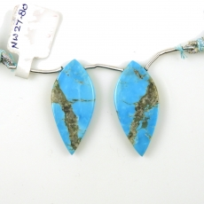 Turquoise Drops Leaf Shape 36x16mm Drilled Beads Matching Pair