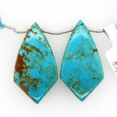 Turquoise Drops Shield Shape 35x20mm Drilled Bead Matching Pair
