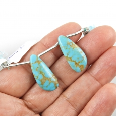 Turquoise Drops Wing Shape 23x10mm Drilled Beads Matching Pair