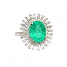 UGL Certified Colombian Emerald 3.79 Carat With Accented Diamond Floral Design Cocktail Ring In 14K White gold