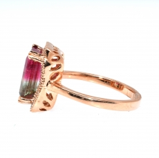 Watermelon Tourmaline 3.27 carat Emerald cut And Diamond Ring In 14k Yelllow Gold