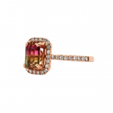 Watermelon Tourmaline Emerald Cut 0.98 Carat Ring With Diamond Accent in 14K Rose Gold