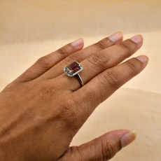 Watermelon Tourmaline Emerald Cut 2.23 Carat Ring With Diamond Accent in 14K White Gold