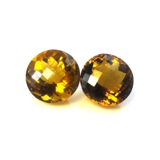 Whiskey Quartz Round 11mm Matched Pair Approximately 9 Carat